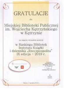 Miejska Biblioteka Publiczna w ogólnopolskim rankingu bibliotek