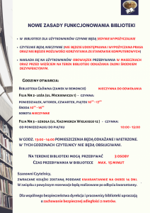 NOWE ZASADY FUNKCJONOWANIA BIBLIOTEKI OD 04.05.2020 R.
