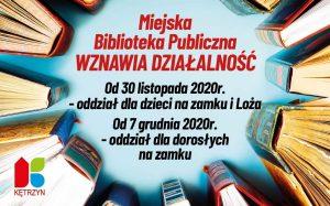 Miejska Biblioteka Publiczna wznawia działalność